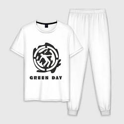 Пижама хлопковая мужская Green Day: Red Symbol цвета белый — фото 1