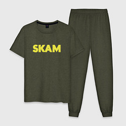 Пижама хлопковая мужская Skam цвета меланж-хаки — фото 1