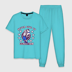 Пижама хлопковая мужская WWE Never Give Up цвета бирюзовый — фото 1