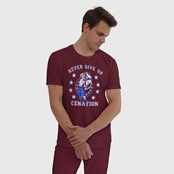 Пижама хлопковая мужская WWE Never Give Up цвета меланж-бордовый — фото 2