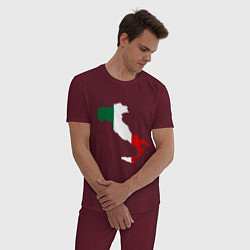 Пижама хлопковая мужская Италия (Italy) цвета меланж-бордовый — фото 2