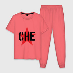 Пижама хлопковая мужская Че Гевара - звезда цвета коралловый — фото 1
