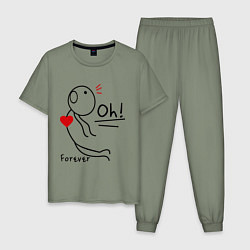 Пижама хлопковая мужская Oh: Forever цвета авокадо — фото 1