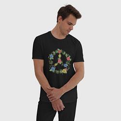 Пижама хлопковая мужская Peace flowers цвета черный — фото 2