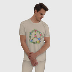 Пижама хлопковая мужская Peace flowers цвета миндальный — фото 2