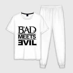 Пижама хлопковая мужская Bad Meets Evil цвета белый — фото 1