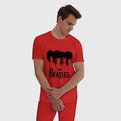 Пижама хлопковая мужская The Beatles: Faces цвета красный — фото 2