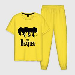 Пижама хлопковая мужская The Beatles: Faces цвета желтый — фото 1