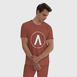 Пижама хлопковая мужская Archive цвета кирпичный — фото 2