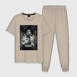 Пижама хлопковая мужская Мейвезер Флойд цвета миндальный — фото 1