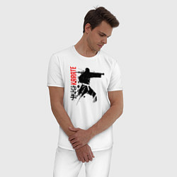 Пижама хлопковая мужская Силуэт каратиста цвета белый — фото 2