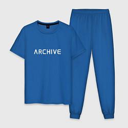 Пижама хлопковая мужская Archive цвета синий — фото 1