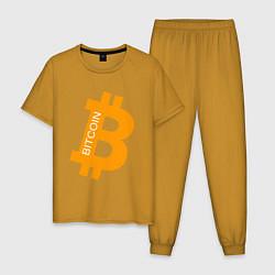 Пижама хлопковая мужская Bitcoin Boss цвета горчичный — фото 1