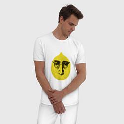Пижама хлопковая мужская John Lemon цвета белый — фото 2