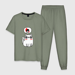Пижама хлопковая мужская Кошачьи мечты цвета авокадо — фото 1