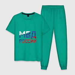Пижама хлопковая мужская МВД России цвета зеленый — фото 1