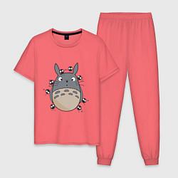 Пижама хлопковая мужская Тоторо цвета коралловый — фото 1