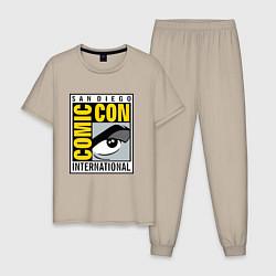 Пижама хлопковая мужская Comic con San Diego цвета миндальный — фото 1