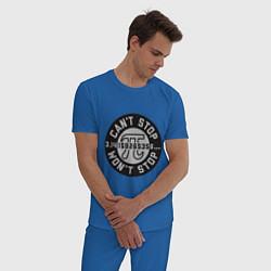 Пижама хлопковая мужская Пи не остановить цвета синий — фото 2