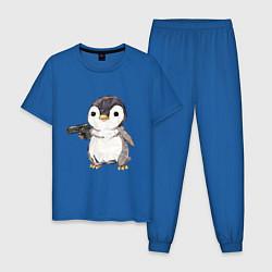 Пижама хлопковая мужская Пингвин с пистолетом цвета синий — фото 1