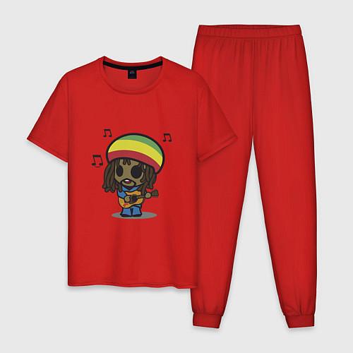 Мужская пижама Маленький Боб Марли / Красный – фото 1