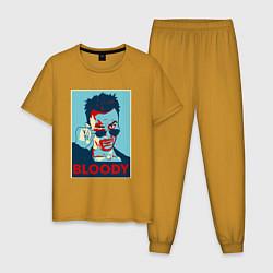 Пижама хлопковая мужская Bloody Poster цвета горчичный — фото 1
