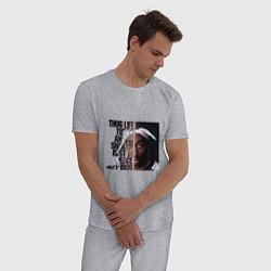 Пижама хлопковая мужская Tupac: 1971-1996 цвета меланж — фото 2