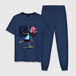 Пижама хлопковая мужская Stay cool цвета тёмно-синий — фото 1