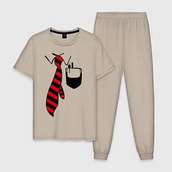 Пижама хлопковая мужская Галстук работника цвета миндальный — фото 1