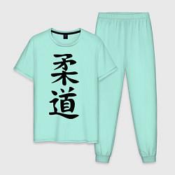 Пижама хлопковая мужская Дзюдо: иероглиф цвета мятный — фото 1