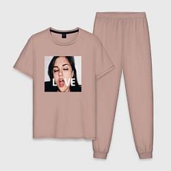Пижама хлопковая мужская Sasha Grey LOVE цвета пыльно-розовый — фото 1