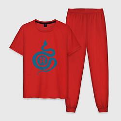 Пижама хлопковая мужская Hunter Snake цвета красный — фото 1
