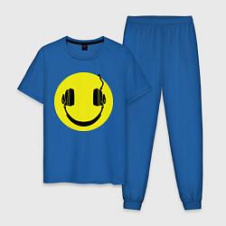 Пижама хлопковая мужская Смайлик-наушники цвета синий — фото 1