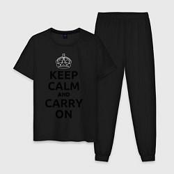 Пижама хлопковая мужская Keep Calm & Carry On цвета черный — фото 1