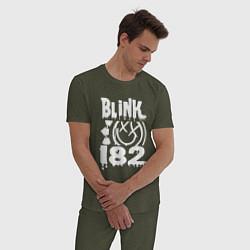 Пижама хлопковая мужская Blink-182 цвета меланж-хаки — фото 2