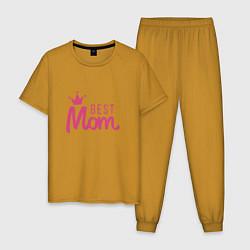 Пижама хлопковая мужская Best Mom цвета горчичный — фото 1