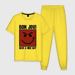 Пижама хлопковая мужская Bon Jovi: Have a nice day цвета желтый — фото 1