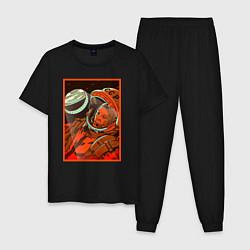 Пижама хлопковая мужская Гагарин в иллюминаторе цвета черный — фото 1