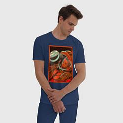 Пижама хлопковая мужская Гагарин в иллюминаторе цвета тёмно-синий — фото 2