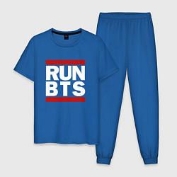 Пижама хлопковая мужская RUN BTS цвета синий — фото 1
