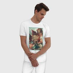 Пижама хлопковая мужская Stranger Things: Monster Flower цвета белый — фото 2