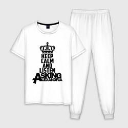 Пижама хлопковая мужская Keep Calm & Listen AA цвета белый — фото 1
