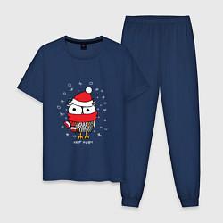 Пижама хлопковая мужская Сова в шапке цвета тёмно-синий — фото 1