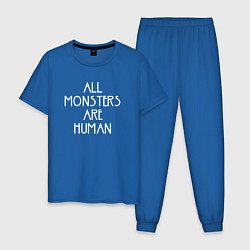 Пижама хлопковая мужская All Monsters Are Human цвета синий — фото 1
