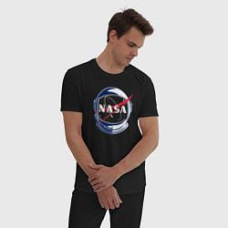 Пижама хлопковая мужская NASA цвета черный — фото 2