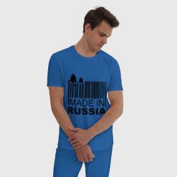 Пижама хлопковая мужская Made in Russia штрихкод цвета синий — фото 2