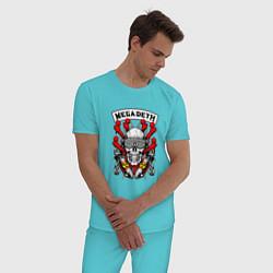 Пижама хлопковая мужская Megadeth Rocker цвета бирюзовый — фото 2