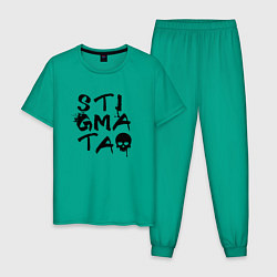 Пижама хлопковая мужская Stigmata цвета зеленый — фото 1