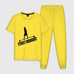 Пижама хлопковая мужская Street WorkOut цвета желтый — фото 1