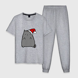 Пижама хлопковая мужская New Year Kitty FCK цвета меланж — фото 1
